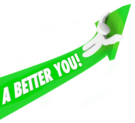 better: A Better You 3d words on a green arrow and a man riding it upward to illustrate self improvement or help to achieve and succeed in job, career or life Stock Photo