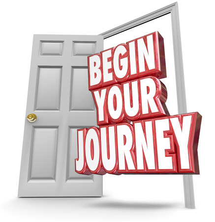 begin: Begin Your Journey words in 3d red letters coming out an open door to invite you to start your challenge, adveture or trip toward the future or tomorrow right now