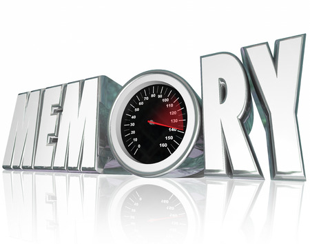losing memory: Memory word in 3d letters with a speedometer and needle racing to illustrate improving mental health and recall of memories