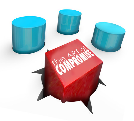 compromise: Art of Compromise on a square peg in a round hole to illustrate negotiating a settlement to an argument or dispute and reaching resolution between parties Stock Photo