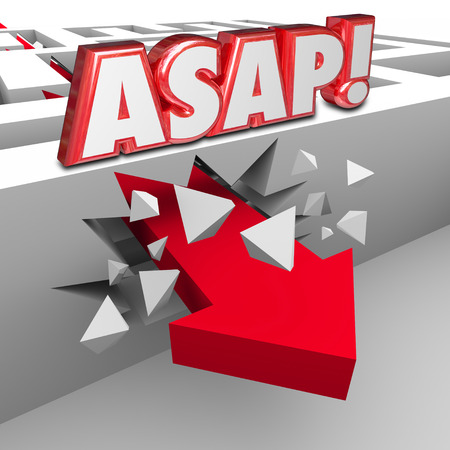 prioritization: ASAP words abbreviation for As Soon As Possible words on a wall in a maze and arrow breaking through to arrive at destination with fast speed and urgency
