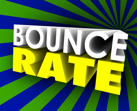 higher intelligence: Bounce Rate 3d words to illustrate viewer, visitor or audience retention on a website or Internet home page, resource or site Stock Photo