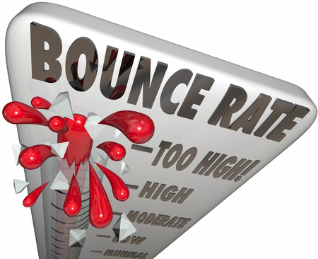 bouncing: Bounce Rate words on a thermometer or gauge measuring the rate of abandonment as visitors or audience leaves your website or online page or resource