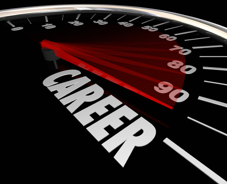 advancement: Career word on a speedometer to illustrate advancement from one job to another through a promotion or increase in responsibility and achievement