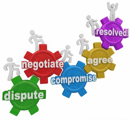 議論、交渉、紛争解決の相違を解決するためにギアを行進する人々 によって達した妥協