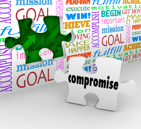 compromise: Compromise word on a puzzle piece to fill a hole in the wall illustrating using negotiaiton and communication to resolve a dispute, difference or argument