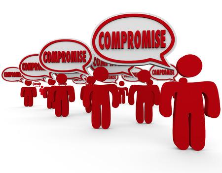 resolving: Parola compromesso in bolle di discorso sopra le teste della gente 3d risolvere una controversia o argomento attraverso la discussione e il negoziato