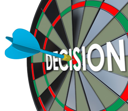 declare: Decision word in 3d letters on a dart board and a direct hit on the bulls eye to illustrate an important final choice, judgment or determination in your job, career or life