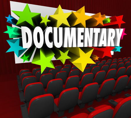 documented: Documentary word on a cinema theater screen for a film or movie that is non-ficition, real life or authentic in coverage of an important subject or topic