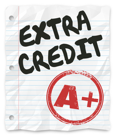 grading: Extra Credit words and A Plus grade on a lined paper for school homework assignment or test where bonus points are awarded for additional effort and results