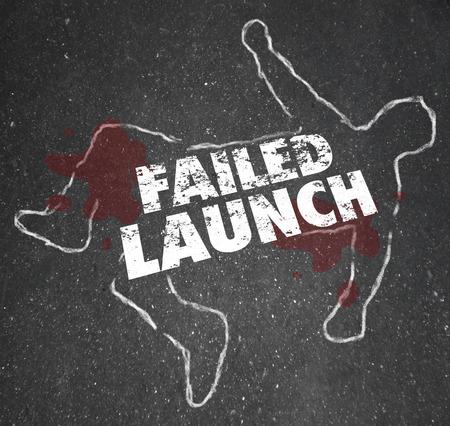 başarısız: Bir ceset bir tebeşir anahat Başarısız Başlatma sözler başarısız bir yeni iş veya copmany başlangıç göstermek için Stok Fotoğraf