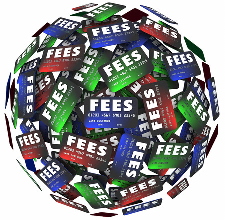fees: Fees words on credit cards as plastic money to borrow, spend or borrow for payment of purchases and shopping, with hidden charges making obligations higher Stock Photo