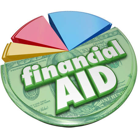 awarding: Financial Aid 3d words on a pie chart of money, support, assistance or help for college or meeting daily expenses such as food, energy and other needed spending