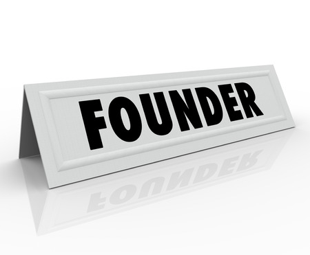 panelist: Founder word on a name tent card for an entrepreneur or new business owner speaking at a conference, panel discussion or seminar as special guest