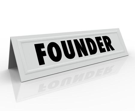 creador: Fundador palabra en una tarjeta de nombre carpa para un empresario o nuevo dueño del negocio en una conferencia, mesa redonda o un seminario como invitado especial