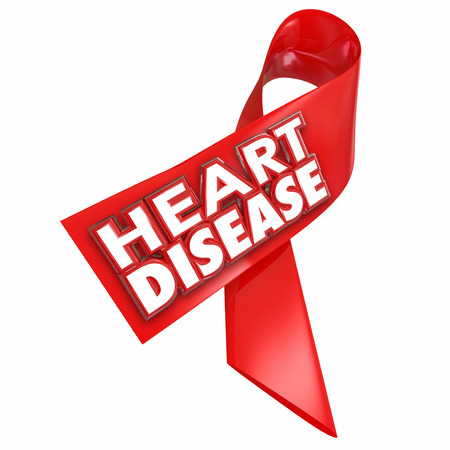 arteries: Heart Disease awareness red ribbon with 3d words to illustrate and convey importance of battling the coronary cardiovascular condition or illness