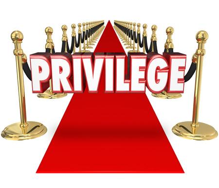 apalancamiento: Privilege palabra en letras 3d rojos en una alfombra roja para ilustrar acceso exclusivo VIP celebridad para un evento especial sólo para la clase rica y famosa o superior en la alta sociedad