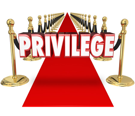 privilege: Privilege word in red 3d letters on a red carpet to illustrate exclusive celebrity VIP access to a special event only for the rich and famous or upper class in high society