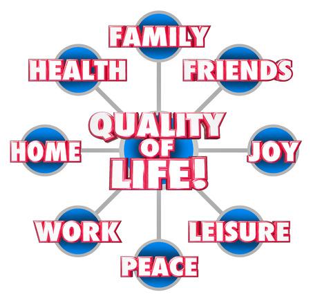 가족, 친구, 가정, 직장, 평화, 기쁨, 레저, 건강을 포함하여 즐거움의 중요한 요인으로 그리드 또는 그림에 생명 3D 단어의 품질