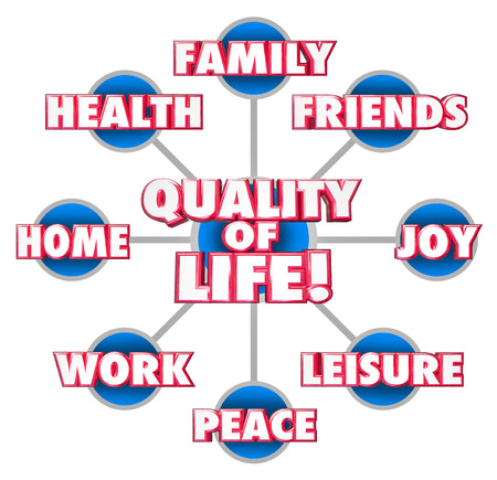 BUEN VIVIR: Calidad de Vida palabras 3d en una rejilla o un diagrama con los factores importantes de su disfrute incluyendo la familia, amigos, casa, trabajo, paz, alegr�a, ocio y salud Foto de archivo