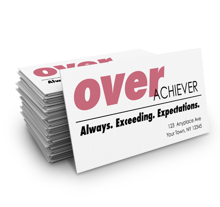 exceeding: Overachiever word on a business cards with description Always Exceeding Expections to help you network and land a job or advance your career Stock Photo