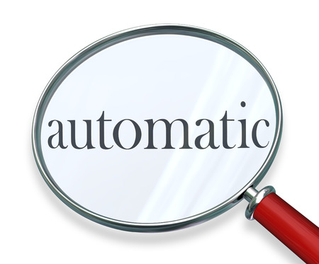 regulating: Automatic word under a magnifying glass to illustrate a system, process, system or program of automation to complete a task or job