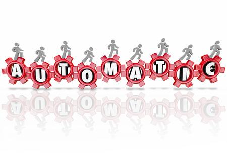 autonomia: Cartas automáticas en artes 3D para ilustrar un auto-arranque o sistema independiente, proceso o procedimiento para una tarea o trabajo