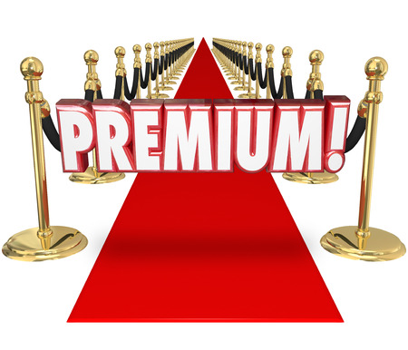 better price: Premium word in 3d letters on a red carpet to illustrate exclusive top tier treatment for a customer at the highest paying level for your companys product or service