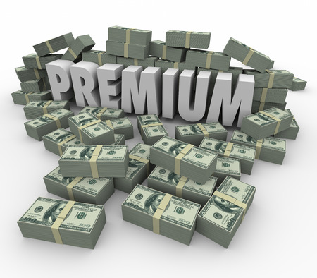 better price: Premium word in 3d letters surrounded by piles of money to illustrate the highest price level or top priority service status of an important paid customer