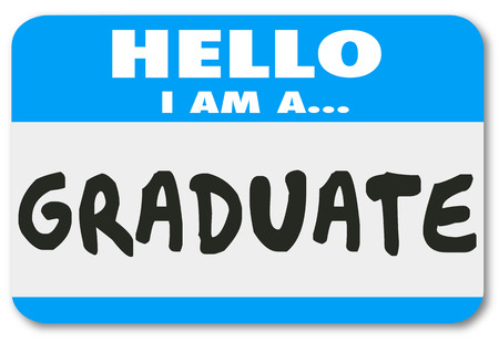 alumnus: Hello I Am a Graduate words on a name tag or sticker to introduce you as a student who has completed education, training and learning in a school or program