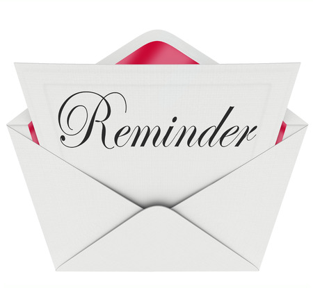 forgot: Reminder word on a note in an envelope as a message sent for you to remember an important meeting, schedule, event or appointment Stock Photo