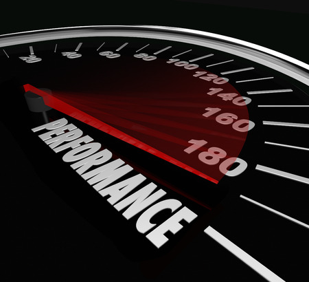 feat: Performance word on a 3d speedometer to illustrate the quality of a job or task completed, achieved or accomplished