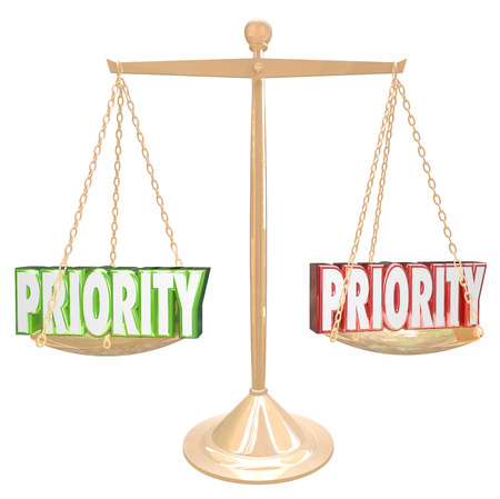 Priority 3d words on a gold scale or balance to illustrate weighing tasks, jobs or qualities for the most important thing to do Stock Photo