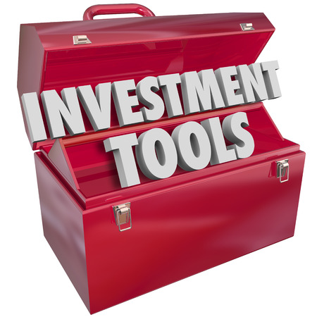 financial diversification: Investment Tools words in 3d letters in a red metal toolbox to illustrate financial advice and resources to help you grow wealth, income and earnings