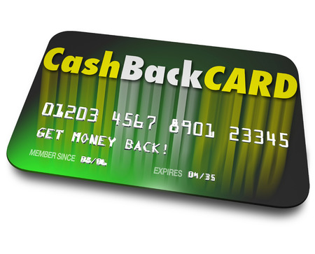 cash card: Cash Back Card words on a credit card to illustrate incentives and money bonuses on a plastic charge account when you spend or borrow funds on loan Stock Photo