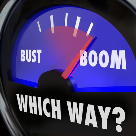 Boom or Bust words on a gauge and Which Way to indicate whether you will experience success or failure, earnings or loss in your business or life