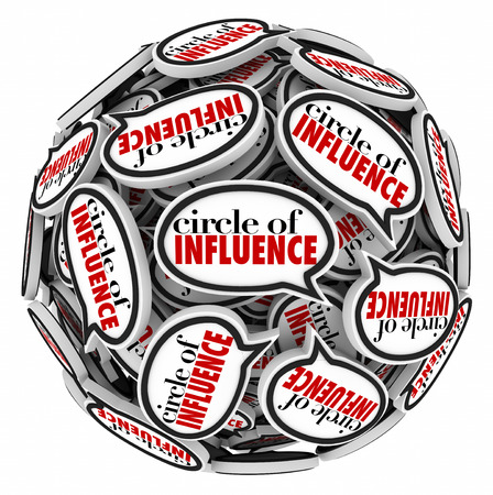 sphere of influence: Circle of Influence words in speech bubbles in a sphere to illustrate communication and messages in networking with people in your career or professional group Stock Photo
