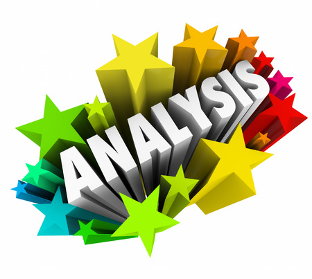 evaluated: Analysis word in 3d colorful stars to illustrate meaning derived from data or information by an expert or professional in the field or subject matter helping put things in context or perspective