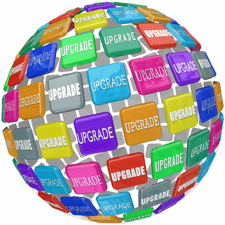 upgrading: Upgrade word on 3d tiles in a ball or sphere to illustrate an upsell, update, advancement, improvement or boost in your level of service