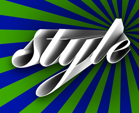 snappy: Style word in 3d letters on a blue and green background to illustrate trends and fads that are in vogue and represent new concepts in beauty Stock Photo