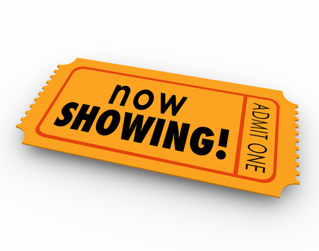 feature films: Now Showing words on a ticket or pass for admission to a movie, webinar or other special event for viewing or watching