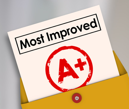 enhancing: Most Improved words on a report card with grade or score A+ to illustrate a student or employee who has increased results and made great strides in better performance Stock Photo