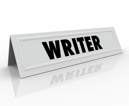 panelist: Writer word on a name tend card for a guest speaker or panelist who is well-known or famous author, reporter, blogger or journalist