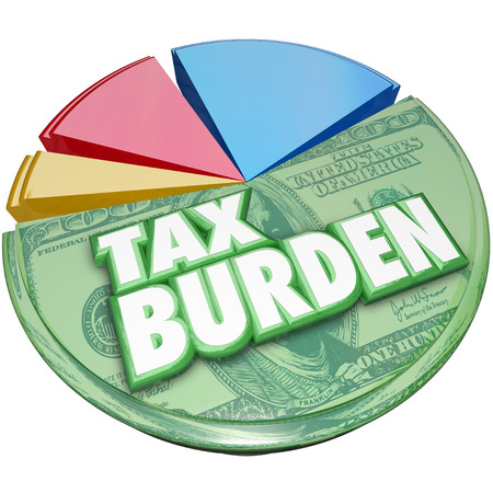 burden: Tax Burden words on a 3d pie chart to illustrate a high percentage of income or revenue owed to the government
