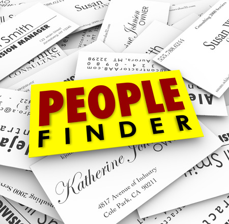 qualified worker: People Finder words on business cards to illustrate a recruiter finding qualified candidates for a new job or employer finding skilled workers Stock Photo