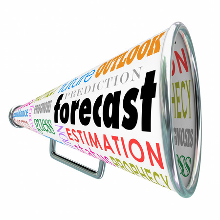 foresight: Forecast word on a megaphone or bullhorn with related terms like estimation, prediction, projection, guess and prognosis