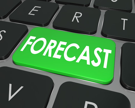 predicted: Forecast word on a computer keyboard button to illustrate future business projection or estimate for earnings to come