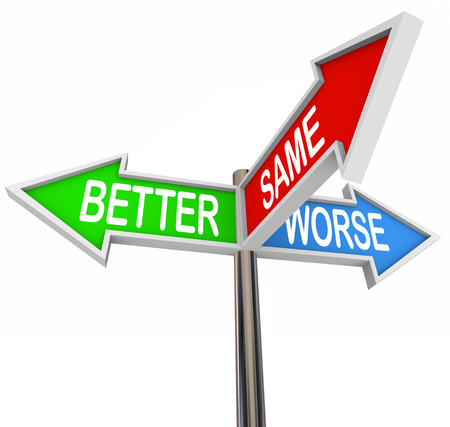 Better Same and Worse words on a three way road sign to show the 3 directions for improving your situation, making it worse or maintaining status quo Stock Photo
