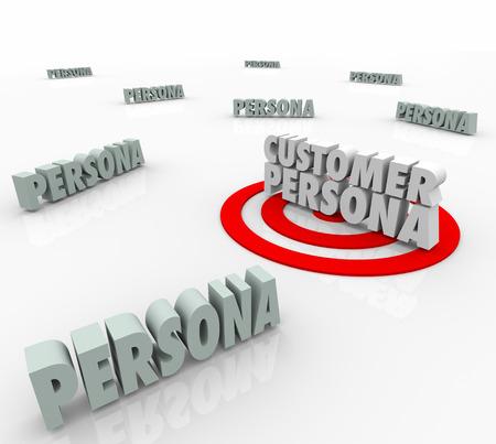 characterize: Persona Cliente palabras 3d en una diana u objetivo para ilustrar marketing para una descripci�n comprador, historia, deseos o necesidades basan en la educaci�n personal, los h�bitos o el comportamiento
