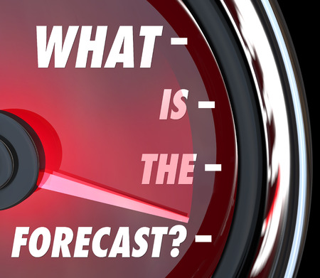 forecaster: What is the Forecast words on a speedometer asking what the prognosis or projection for growth is in the future